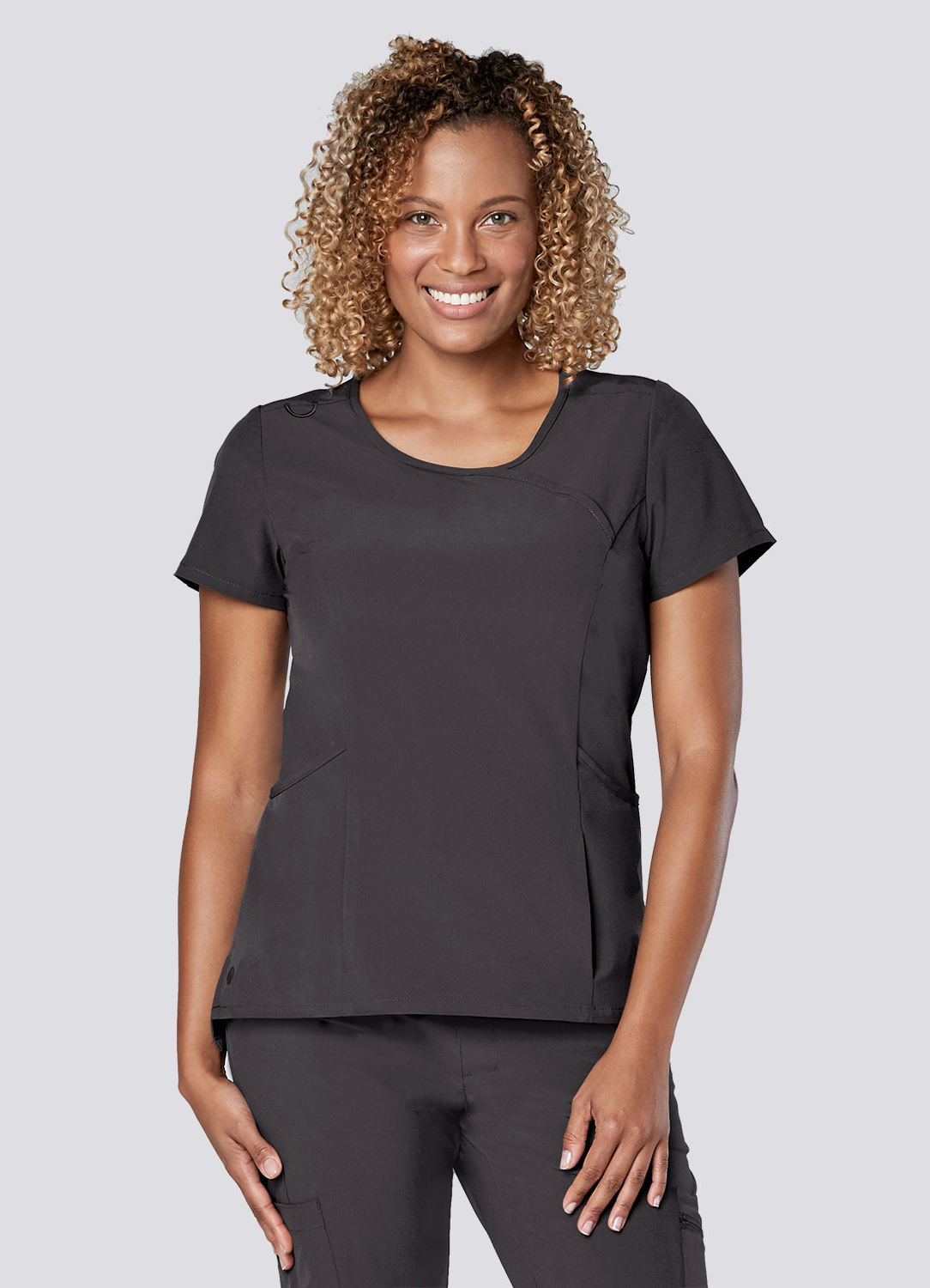 Curved Mock Wrap Top