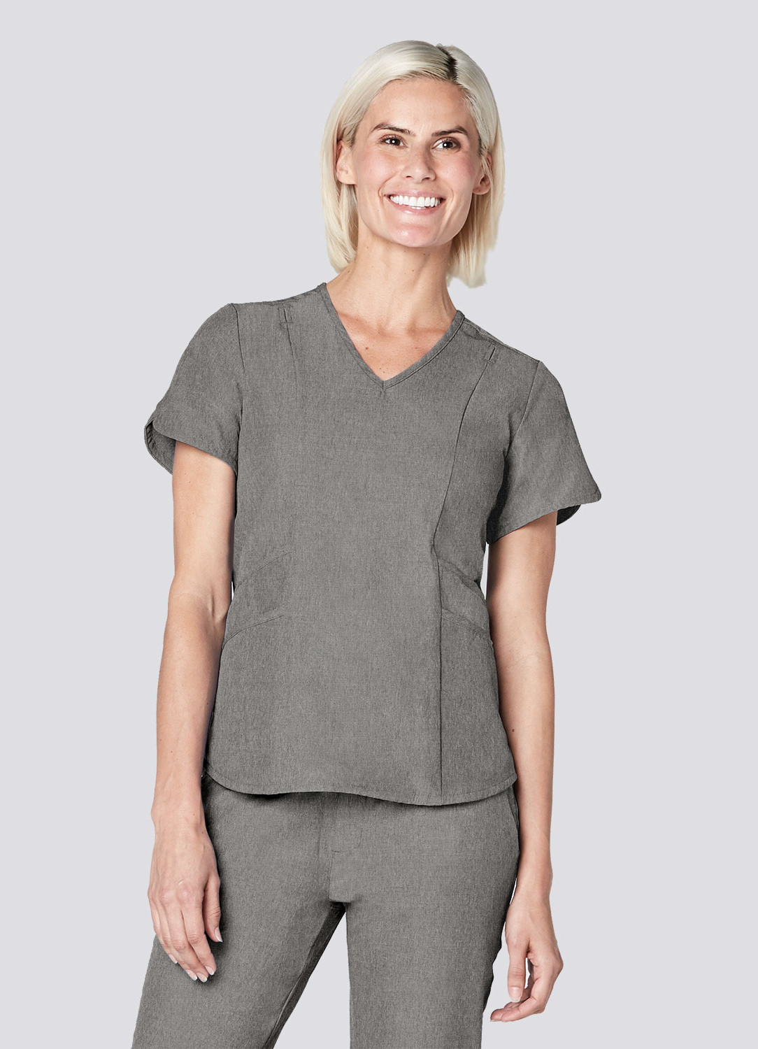 Polished Melange Tailored V-Neck Top