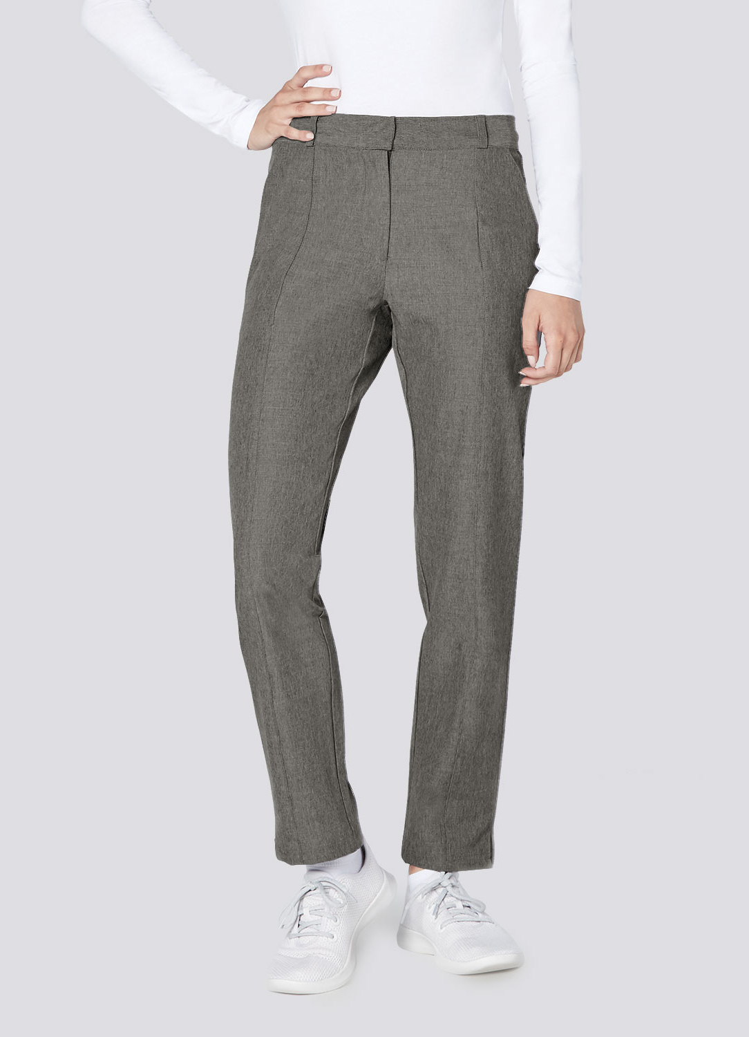 Polished Melange Flat Front Trouser