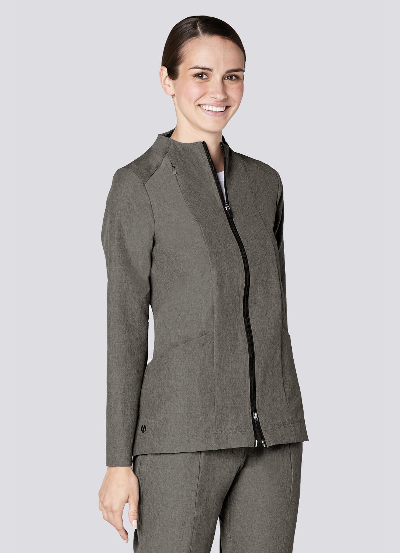 Polished Melange Tailored Funnel Neck Jacket